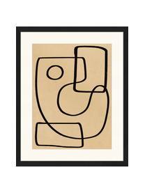 Stampa digitale incorniciata Organic Charcol Abstract, Immagine: stampa digitale su carta,, Cornice: legno, verniciato, Nero, beige scuro, Larg. 43 x Alt. 53 cm