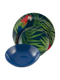 Service de table porcelaine multicolore Parrot Jungle, 18élém., Multicolore