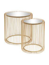 Tables d'appoint avec plateau en verreWire, 2élém., Couleur laitonnée