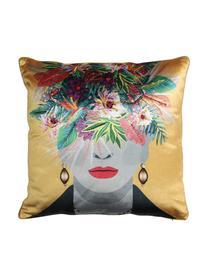 Poduszka z aksamitu z wypełnieniem Flower Head, Tapicerka: 100% aksamit bawełniany, Brunatnożółty, wielobarwny, S 45 x D 45 cm