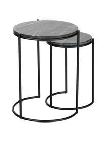Komplet stolików pomocniczych z marmuru Ella, 2 elem., Blaty: czarny marmur Stelaże: czarny, matowy, Komplet z różnymi rozmiarami