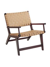 Kunstleren fauteuil Akina in beige, Zitvlak: kunstleer (100% polyureth, Frame: massief gelakt acaciahout, Beige, 62 x 74 cm