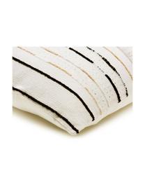 Kissen Lena mit Strukturmuster und Pailletten, mit Inlett, Bezug: Baumwolle, Weiß, Schwarz, Hellbeige, 60 x 60 cm