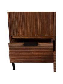Highboard Saroo aus Mangoholz mit geriffelter Front, Gestell: Mangoholz, lackiert, Beine: Metall, beschichtet, Mangoholz, 80 x 115 cm