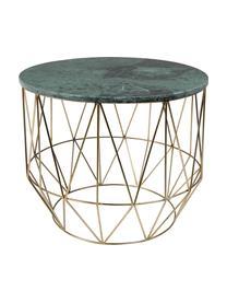 Runder Marmor-Beistelltisch Boss, Tischplatte: Marmor, Gestell: Metall, vermessingt, Tischplatte: Grün, marmoriert<br>Beine: Messing, Ø 51 x H 42 cm