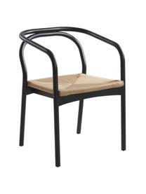 Houten armstoel stoel Lidingo met koord, eikenhout, Frame: berkenhout, gelakt, Zitvlak: vlechtwerk, Zwart, beige, 54 x 56 cm