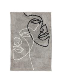 Tapis moderne en coton One Line Visage, Gris, noir, blanc