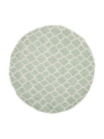 Flauschiger Hochflor-Teppich Mona in Mintgrün/Cremeweiß, Flor: 100% Polypropylen, Mintgrün, Cremeweiß, Ø 150 cm (Größe M)
