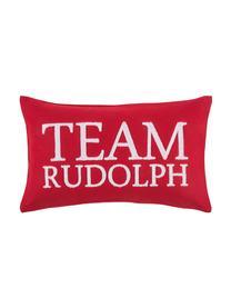 Funda de cojín Rudolph, 60%lana, 40%poliéster, Rojo, blanco, An 30 x L 50 cm