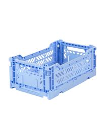 Cesto piccolo pieghevole e impilabile Babby Blue, Materiale sintetico riciclato, Blu, Larg. 27 x Alt. 11 cm