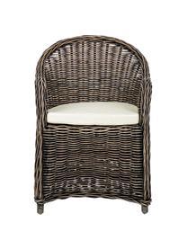 Fotel z podłokietnikami z rattanu Martin, Tapicerka: bawełna, Rattan, czarny, biały, S 60 x G 67 cm