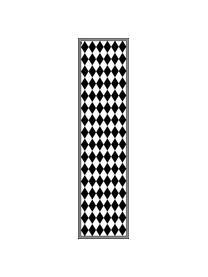 Vlakke vinyl vloermat Bobby II in zwart / wit, antislip, Recyclebaar vinyl, Zwart, wit, 65 x 255 cm