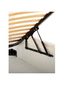Gestoffeerd bed Feather met opbergruimte, Frame: massief grenenhout, Bekleding: polyester (structuurmater, Geweven stof ecru, 180 x 200 cm