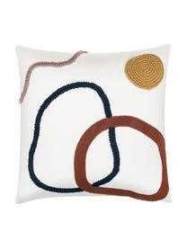 Kissenhülle Pablo mit abstrakter Verzierung, 100% Baumwolle, Vorderseite: MehrfarbigRückseite: Weiß, 45 x 45 cm
