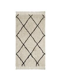 Puszysty ręcznie tuftowany dywan z frędzlami Naima, Beżowy, czarny, S 200 x D 300 cm (Rozmiar L)