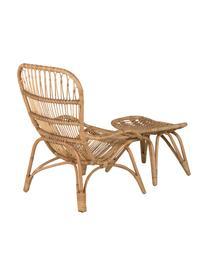 Fotel ogrodowy z rattanu z podnóżkiem Ella, Rattan, poliester, Beżowy, S 66 x G 131 cm