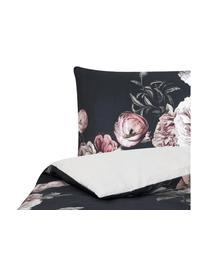 Katoensatijnen dekbedovertrek Blossom, Weeftechniek: satijn Draaddichtheid 210, Zwart, 140 x 200 cm + 1 kussen 60 x 70 cm