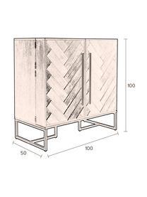 Szafka na wino z drewna akacjowego Class, Korpus: płyta pilśniowa średniej , Drewno akacjowe, odcienie mosiądzu, S 100 x W 100 cm