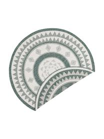 Rond dubbelzijdig in- en outdoor vloerkleed Jamaica in groen/crèmekleur, 100% polypropyleen, Groen, crèmekleurig, Ø 200 cm (maat L)