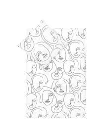 Pościel z perkalu Aria, Biały, czarny, 135 x 200 cm