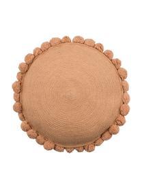 Okrągła poduszka z juty z wypełnieniem Pom Pom, Juta, Brązowy, Ø 40
