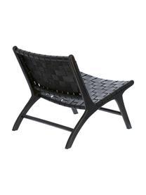 Leren loungefauteuil Calixta, Frame: mahoniehout, Zitvlak: leer, Zwart, 65 x 76 cm