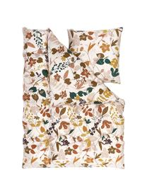 Baumwollsatin-Bettwäsche Silhouettes mit Blumenmotiven, Webart: Satin Fadendichte 220 TC,, Cremeweiß, Mehrfarbig, 155 x 220 cm + 1 Kissen 80 x 80 cm