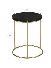 Table d'appoint ronde en marbre Ella, Plateau: marbre noir Structure: couleur dorée, mat