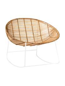 Schommelstoel Orinoco, Zitvlak: rotan, Frame: metaal, Zitvlak: rotankleurig. Frame: wit, 92 x 76 cm