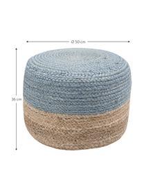 Ręcznie wykonany puf  z juty Bono, Tapicerka: juta, Juta, szaroniebieski, Ø 50 x W 36 cm