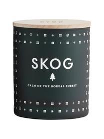 Candela profuma al pino Skog, Contenitore: vetro, Coperchio: legno di faggio, Pino verde, Ø 8 x A 9 cm