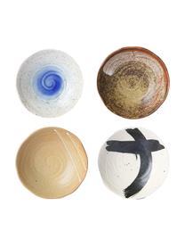 Handgemachte Schälchen Yunomi im japanischen Style, 4er-Set, Steingut, Mehrfarbig, Ø 17 x H 5 cm