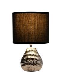 Kleine Nachttischlampe Sip of Silver aus Keramik, Lampenschirm: Baumwollgemisch, Lampenfuß: Keramik, Silberfarben, Schwarz, Ø 18 x H 29 cm