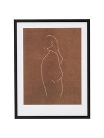 Gerahmter Digitaldruck Erika, Rahmen: Holz, Bild: Papier, Schwarz, Braun, Weiß, 32 x 42 cm