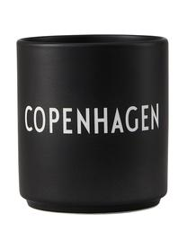 Design Becher Favourite COPENHAGEN in Schwarz mit Schriftzug, Fine Bone China (Porzellan), Schwarz, Weiß, Ø 8 x H 9 cm