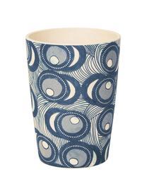 Bambus-Becher Fish Eye, Bambusfasern, lackiert, Blau, Weiß, Ø 8 x H 11 cm