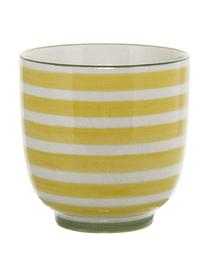 Set 3 tazzine da caffè senza manico dipinte a mano Patrizia, Gres, Bianco, blu, rosso, giallo, Ø 7 x Alt. 7 cm