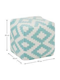 In- und Outdoor-Pouf Napua, Bezug: 100% recyceltes Polyester, Türkis, Ecru, 40 x 40 cm