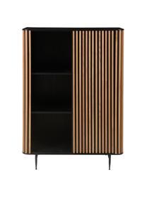 Design highboard Linea met schuifdeur en eikenhoutfineer, Frame: MDF met gelakt eikenfinee, Poten: gelakt metaal, Zwart, eikenhoutkleurig, 98 x 135 cm