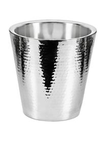 Flaschenkühler Valencia aus Edelstahl mit gehämmerter Oberfläche, Edelstahl, gehämmert, Silber, H 23 cm