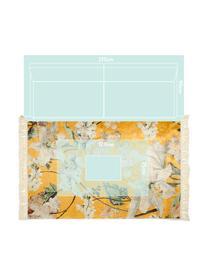 Teppich Rosalee mit Blumenmuster, 60% Polyester, 30% thermoplastisches Polyurethan, 10% Baumwolle, Senfgelb, Mehrfarbig, B 180 x L 240 cm (Größe M)