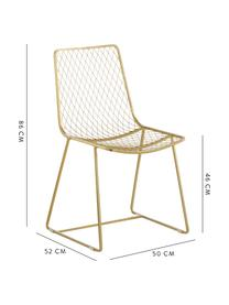 Metall-Stuhl Kiara in Messing, Metall, vermessingt, Messingfarben, B 50 x T 52 cm