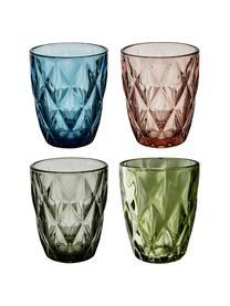 Bicchiere acqua Colorado 4 pz, Vetro, Verde, rosa, blu, grigio, Ø 8 x Alt. 10 cm