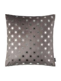 Federa arredo con motivo a stelle Cosmos, Poliestere, Grigio, argentato, Larg. 40 x Lung. 40 cm