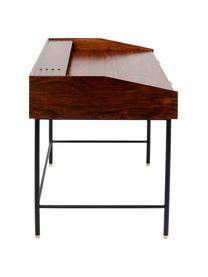Holz-Schreibtisch Ravello mit Schubläden, Korpus: Massives Sheeshamholz, la, Beine: Stahl, pulverbeschichtet, Griffe: Stahl, pulverbeschichtet, Braun, B 118 x T 70 cm