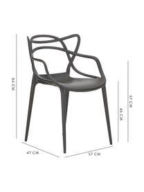 Krzesło z podłokietnikami do ustawiania w stos Masters, 2 szt., Polipropylen, Czarny, S 57 x G 47 cm