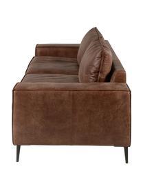 Leder-Sofa Brett (3-Sitzer) in Braun im Industrial Design, Bezug: Rindsleder, glatt, Gestell: Aluminium, lackiert, Leder Brauntöne, B 215 x T 90 cm
