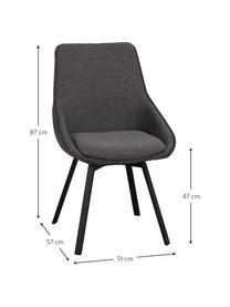 Tapicerowane krzesło obrotowe Alison, Tapicerka: poliester Dzięki tkaninie, Nogi: metal malowany proszkowo, Ciemnyszary, S 51 x G 57 cm