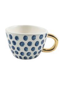 Gemusterte Espressotassen Masai mit goldenem Griff, 6er-Set, Steingut, Blau, Weiß, Goldfarbe, Ø 7 x H 5 cm