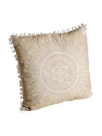 Gemustertes Kissen-Set Paloma mit verzierenden Bommeln, mit Inlett, Beige, Weiß, 45 x 45 cm